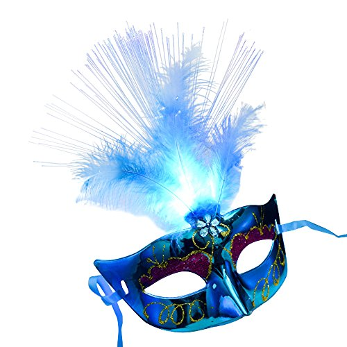 Sixcup donne ragazza led luce in fibra mezza maschera veneziana maschera fancy dress party principessa piuma maschere lucido costume di halloween party mask, blue, taglia libera