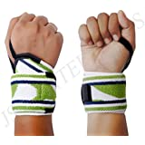 PSJ Wrist Wraps Heavy Duty for Weight Lifting | Powerlifting | Strongman | Gym | Crossfit | Cross Training | Bodybuilding Workouts With Thumb Loop - Wrist Support Braces For Women & Men - Premium Quality Equipment & Accessories