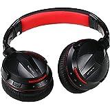 Meilun AUSDOM M04S Bluetooth Kopfhörer Headphone Headset NFC kabellos wireless Over Ear drehbar mit Lederohrpolster (Fernbedienung/Mikrofonsteuerung, für Apple iOS/Android Geräten)- Schwarz + Rot