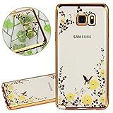 ISAKEN Samsung Galaxy Note 5 Custodia, Ultraslim TPU Case Ultrasottile Bling Glitter Custodia Caso con Diamant Satinato Fine Facile Transparente per Galaxy Note 5 - Gold: Fiori Gialla