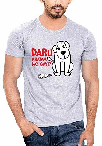 WYO Mens Graphic Printed T-Shirt ( Daru Khatam,Grey,XX-Large )