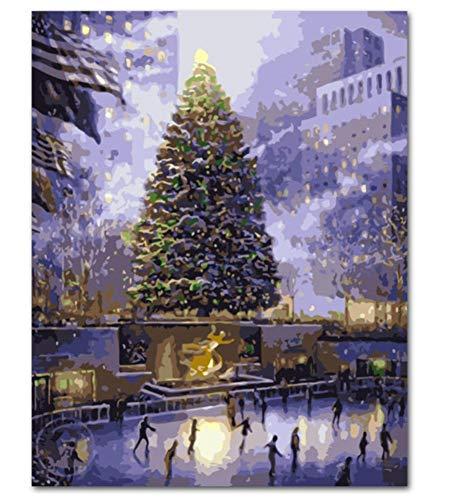 h Zahlen Schnee-Szenen-Landschafts-DIY- Ausrüstungen, Die Farbe Durch Zahlen Modernes Wandkunst-Bild-Geschenk Färben(40X50Cm) ()