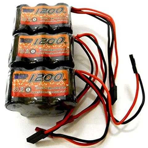 BSP RC Electric Model 6v 1200mah Ni-MH Rechargeable Battery Pack JST JR Hump x 3