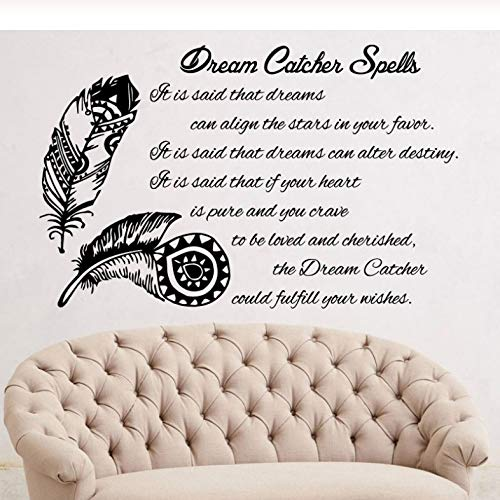 Personalidad del texto pluma etiqueta de la pared etiqueta engomada del vinilo atrapasueños decoración arte boho etiqueta de la pared dormitorio sala de estar calcomanía 67x42 cm