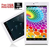 Indigi Tablette Android [Android 4.4KitKat + Wifi + DualSim Slots + Sync + Google Play Store] Bluetooth + 32GB MicroSD