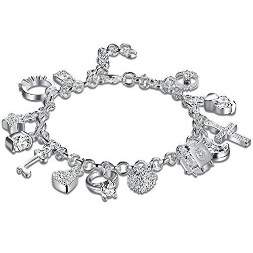 Braccialetto per Donna/Ragazza con 13 Ciondoli Stile Argentato Bracciale Donna con Cristalli Regalo di San Valentino