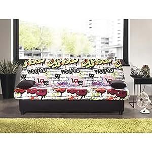 Staro banquette clic-clac convertible lit 3 places tissu graffiti