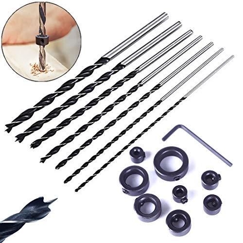 QISF 7-teiliges 300mm extra langes HSS Spiralbohrer Set (4-12mm) + 9 Stück Tiefenanschlagringe Stellungsregler Ring Set (3-16mm), für Holz-Lochschneider Bohren DIY Kunststoff