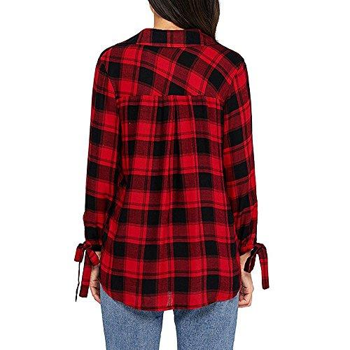 Topgrowth Donne Manica Lunga Stampa a Quadri Felpa Accostare Cross Scollo a V Top Camicetta Camicia Rosso