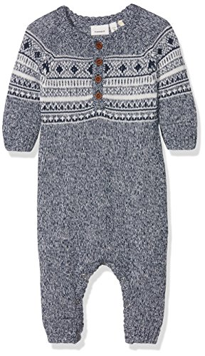 NAME IT Baby-Mädchen Spieler Nitmalthe Knit LS Suit Mznb, Blau (Dress Blues), 62
