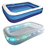 ASAB Large Inflatable Family Paddling Pool   for Kids and Adults   with LEDs   for Garden Parties