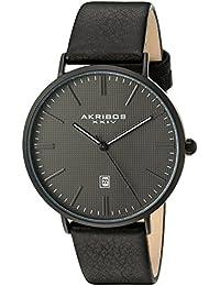 Akribos XXIV Men's Matte Black Case with Dark Gray Textured Dial on Black Genuine Leather Strap Watch AK935BK
