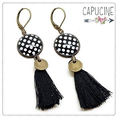Boucles d'oreilles pendantes avec cabochon à pois noir et blanc - Boucles d'oreilles pompons - Pois noirs & Blancs