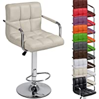 Diseño moderno taburete de Bar con reposabrazos ergonómico (color beige) alta asientos confort silla de piel sintética–altura ajustable barra de desayuno de comedor Home muebles de cocina