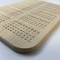Planche à petit-déjeuner originale en bois de hêtre pour apprendre les tables de multiplications–Idée Cadeau pour la rentrée scolaire
