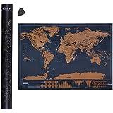 Mitavo Premium mapa para rascar ¡con rascador!, rascar mapamundi para niños y adultos, mapa para rascar con funda-tubo resistente/tubo de regalo Map