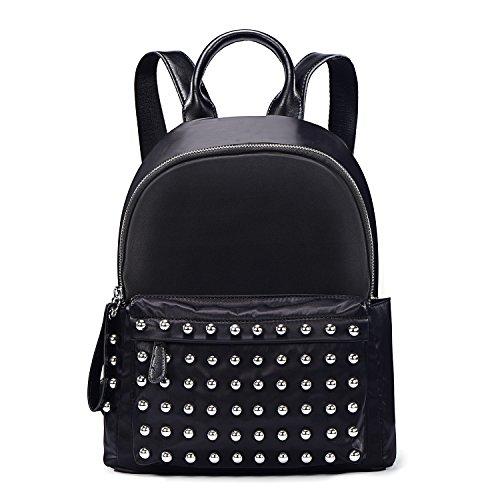 DonDon Zaino donna nylon impermeabile con borchie Sfera nero