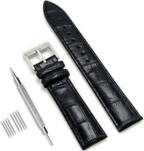 Werkzeug 22mm Uhrenarmband (CIVO uhrenarmband Echtes Leder Uhrband Watch Strap Top Kalbsleder 18mm 20mm 22mm Uhr Armband Watch Band für Herren Damen mit Federstege Werkzeug und 8 Pins Bonus (Schwarz, 22 mm))