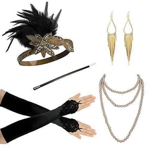 Billig Peacock Kostüm - 1920 Zubehör Set für Frauen Gatsby Kostümzubehör -Flapper-Stirnband Perlenkette Handschuhe Zigarettenhalter Netzstrumpfhose