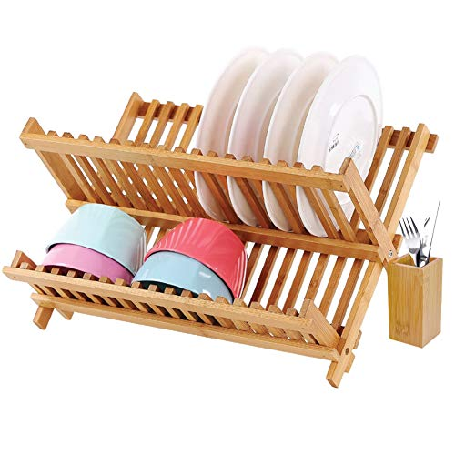 BAKAJI escurreplatos con Caja de Lija Plegable de Madera de Bambú Cola  Platos con Compartimento Tazas 7c69c0a4a6c3