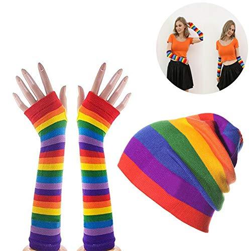 Bunter 1Set Regenbogen-Handschuh & Ski Beanie-Geschenk-Set Regenbogen-Streifen Lange Strickhandschuhe Outdoor-Strickmütze Ferien-Kostüm-Party-Zusatz für Mann und ()