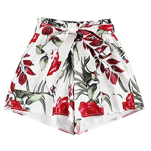 Lonshell Kurze Hose Damen Hoch Taille Lässige Shorts mit Blumedrucken Sommer Strand Shorts Taillenband Schleife Mini Hot Hosen Frauen Taschen Trainingshose Sporthose