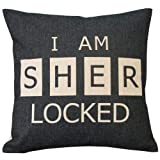 I'm Sher Locked Throw Pillow Case Decor Cushion Covers Square 1818 Inch Beige Cotton Blend Linen