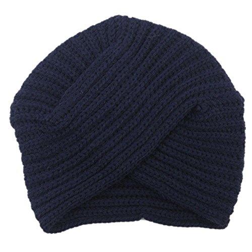 Dxlta Invierno Mujer de Punto Sombrero de Turbante, India Plate Head Cap, Lindos Tejer Cruzados Hat Negro/Gris