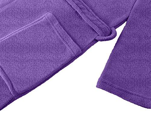 Bademantel für Damen und Herren - Kuschelfleece mit Schalkragen - erhältlich in 6 modernen Farben und 5 Größen - für Damen und Herren - klassisch elegantes Design - wadenlang geschnitten, XL, bordeaux lila