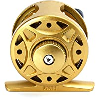 Zhuhaimei,1 + 1BB Fly Fish Reel Wheel para la Pesca con Hielo en balsa(Color:Dorado,Size:SL 50)