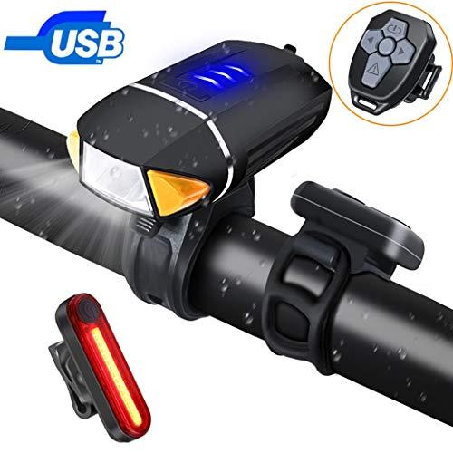 PiAEK Luci Bicicletta LED Luce Bici Set USB Ricaricabili Impermeabile LED Luce Anteriore Bici Telecomando Senza Fili e Luce Posteriore Bici per Campeggio Notturno