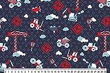 Qualitativ hochwertiger Jersey Stoff mit Baustellenmotiven in Rot auf Blau als Meterware zum Nähen von Erwachsenen. und Kinderkleidung, 50 cm