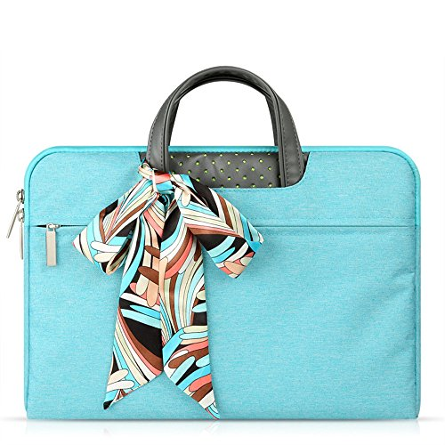 11 Inch Laptop Bag,Slim Portable Water Resistant Laptop Sleeve Case Handbag with Scarf for MacBook Acer ASUS Dell ThinkPad HP Toshiba Chromebook Ultrabook Laptop Tablet w/Accessory Bag - Blue