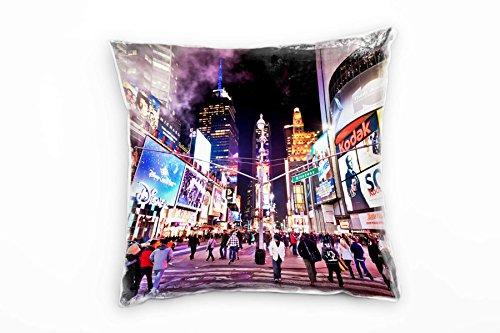 Paul Sinus Art Urban und City, bunt, Times Square, New York Deko Kissen 40x40cm für Couch Sofa Lounge Zierkissen - Dekoration zum Wohlfühlen