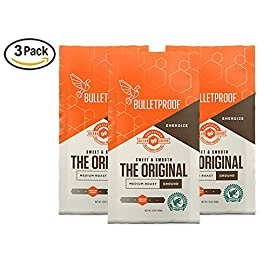 Bulletproof The Original Ground Coffee (3-Packs), Premium Medium Roast Organic Coffee, Keto Diet Coffee