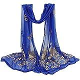 Damen Schal Xinan Women Scarf MultiColor Blume Schal Lange Wrap Schal Stola Pashmina Winterschal (160*43CM, Blau)