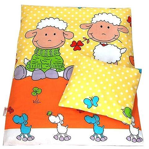 BABYLUX 2 tlg. Set Bezug für Kinderwagen Stubenwagen oder Wiege Garnitur Bettwäsche Kissen Decke 60 x 78 cm (4. Orange Schaf)