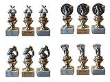 3 Fussball-Pokale (Spieler) mit Gravur und 3 Fussball-Anstecknadeln.