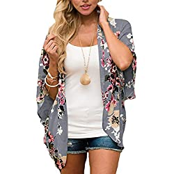 JORYEE - Kimono para Mujer - Cardigan de Gasa - Blusa de Verano Boho o Playa Gris Oscuro L