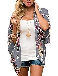 e00bdcf632 Digitek Direct Women Chiffon Loose Shawl - Chiffon Floral Print Kimono  Cardigan Cover Up Boho Summer