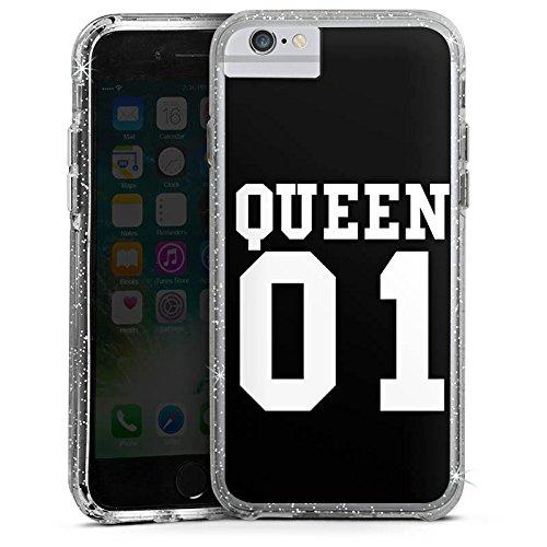 Apple iPhone 7 Bumper Hülle Bumper Case Glitzer Hülle Queen 01 Koenigin Paerchen Bumper Case Glitzer silber