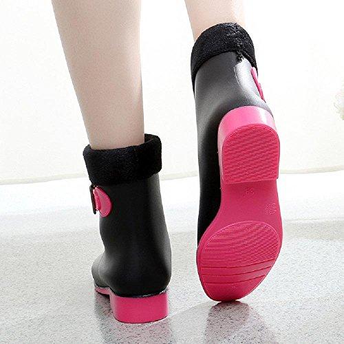 Hiver Garder au chaud Bottes de pluie Anti-dérapant Bottes de Martin Black