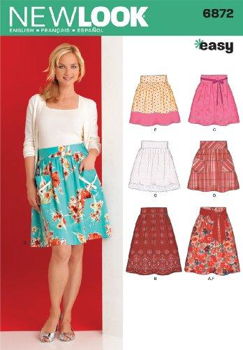 Bedruckte Seide Organza-kleid (New Look 6872Größe A für Damenröcke Schnittmuster, mehrfarbig)