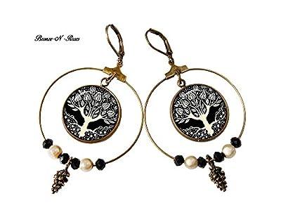 boucles d'oreille créoles arbre art nouveau pendants bronze-n-roses aubrey beardsley