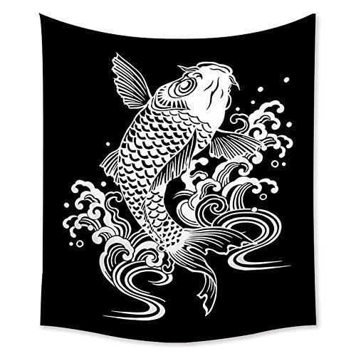 Schwarz und Weiß Koi Fisch Wandteppich Japanischer Stil Wand Kunst Wandbehänge Wandbehang Dekor Schlafzimmer Dorm College Wohnzimmer Home Kunst Dekoration 59*51in (Koi Fisch-wand-kunst)