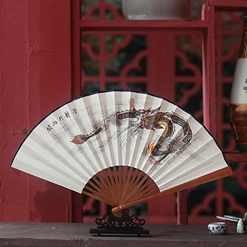 Kostüm Chinesischer Drachen Papier - XIAOHAIZI Handfächer,Sommer Chinesischen Stil Männer Bambus Fan Weiß Tier Drachen Vintage Fan Für Hauptwanddekoration Männer Geschenk Fan U-Bahn Faltfächer