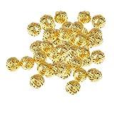 Sharplace 100 Unids Bola de Filigrana Hueca de Oro Suelta Perlas Espaciador para Fabricación de Joyas de 8 Mm
