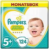 Pampers Premium Protection Windeln, Gr.5+ Junior Plus, 12-17kg, Monatsbox, 1er Pack (1 x 124 Stück)