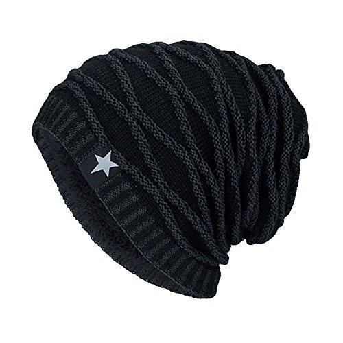 YWLINK Unisex StrickmüTze Absicherung Kopf Hut MüTze Warmer Fleece Futter Outdoor Mode Hut BommelmüTze Herren Damen(Einheitsgröße,Schwarz)