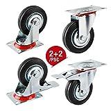 Forever Speed ruedas giratorias de goma, 75mm ruedas de transporte, 2 ruedas giratorias con freno y 2 sin freno, cargar 50 kg por rueda giratoria (4 p